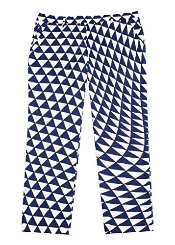 Prada Women's Cotton Geometric Design Pants Navy - Prada Design