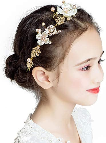 Amazon Com Kids Wedding Hair Accessories Floral Princess Headpiece Pearls Tiara First Communion Hair Band For Girls And Women Sweet Cute Bridal Wedding Headband For Flower Girls And Bridesmaid Gold Beauty