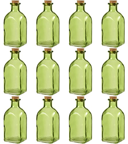 - Juvale Clear Glass Bottles Cork Lids- 12 Pack Small Green Transparent Jars Stoppers Vintage Wedding Decoration, DIY, Home, Party Favors, 4.75 x 2 x 2 inches