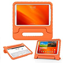 Samsung Galaxy Tab E 9.6 kids case, COOPER DYNAMO Rugged Heavy Duty Children's Boys Girls Bumper Drop Proof Protective Carry Case Cover + Handle, Stand & Screen Protector for SM-T560 T561 Orange