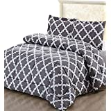Utopia Bedding Printed Comforter Set (Queen, Grey) with 2 Pillow Shams - Luxurious Brushed Microfiber - Goose Down Alternative Comforter - Soft and Comfortable - Machine Washable