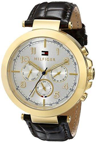 Tommy Hilfiger Multifunction Gold-Tone and Brown Leather Women's watch #1781453