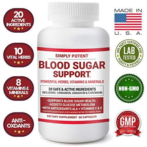 (Blood Sugar Support Supplement 600mg/Capsule, 20 Natural Herbs & Multivitamins with Cinnamon, Vitamin C+E, Chromium, Vanadium, Zinc, Bitter Melon & ALA for Healthy Blood Glucose, Insulin & Pancreas)