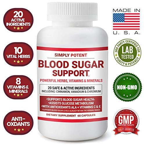 Blood Sugar Support Supplement 600mg/Capsule, 20 Natural Herbs & Multivitamins with Cinnamon, Vitamin C+E, Chromium, Vanadium, Zinc, Bitter Melon & ALA for Healthy Blood Glucose, Insulin & Pancreas