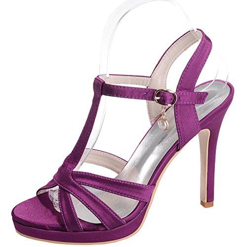Loslandifen Womens Ouvert Orteil Cheville Straps Pompes Weave Style Stiletto Talons Hauts Chaussures De Mariée De Mariage Violet