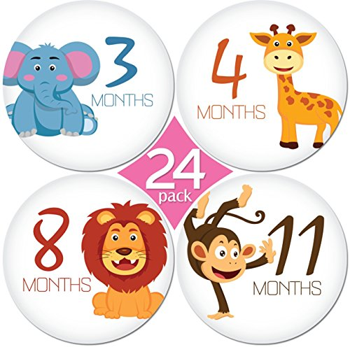24 Pack of 4″ Premium Baby Monthly Stickers By KiddosArt. 1 Happy Animal Sticker Per Month of Your Baby's First Year Growth and Holidays. Month Sticker for Baby, Boy or Girl. Milestone Onesie Stickers