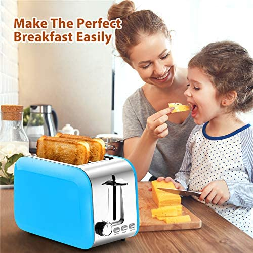 Toaster 2 Slice Best Rated Prime Wide Slot, Stainless Steel Blue Toasters Defrost/Bagel/Cancel Function, 7 Shade Settings Toast Bread Evenly Quickly with Removable Crumb Tray