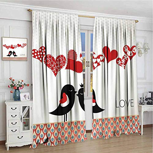 GUUVOR Love Room Darkened Curtain Queen and King Bird Couple Kissing Hanging Valentines Heart and Abstract Pattern Insulated Room Bedroom Darkened Curtains W108 x L108 Inch Multicolor