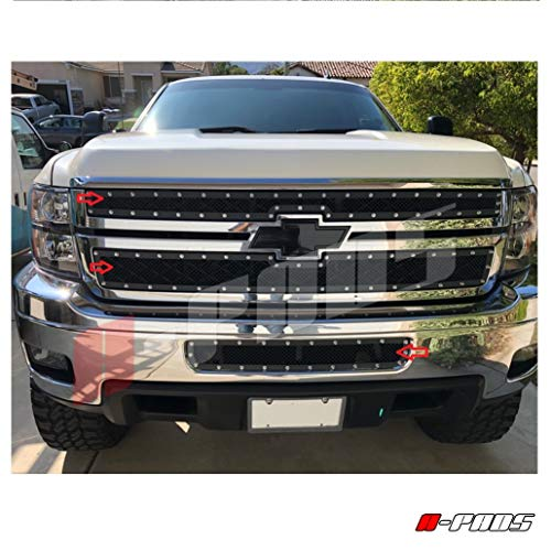 A-PADS 3PC Black Mesh Rivet Studs Grille Combo For Chevy SILVERADO 2500 HD 3500 HD 2011-2014 - OVERLAY/Bolt-On