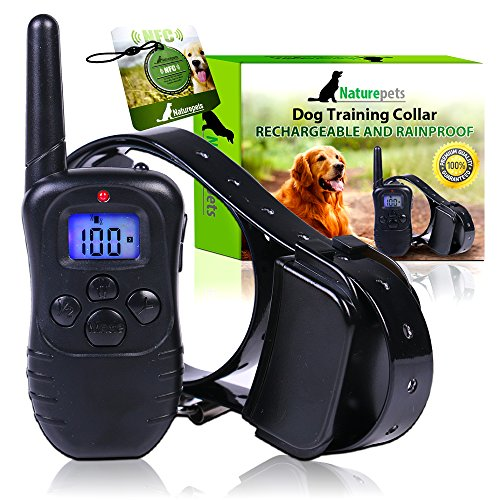 Naturepets-Remote-Dog-Training-Collar-Safe-and-Effective-Rechargeable-And-Rainproof-Bark-shock-Collar-with-LCD-Screen-and-100-Vibration-and-Shock-Levels-two-GIFTS-include