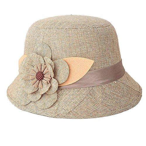 IUNEED New Fashion Women Flax Flower Bowler Hat Billycock Cap (New Braid Fedora)