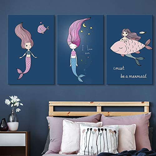 Dream Art Canvas - wall26 3 Panel Canvas Wall Art - Girl with a Mermaid Dream - Giclee Print Gallery Wrap Modern Home Decor Ready to Hang - 16