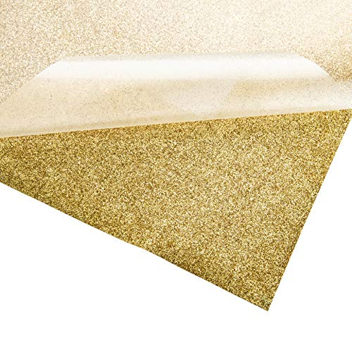 Bright IDEA Heat Transfer Vinyl HTV Bundle 10x12- 5 Pack of Premium Gold Glitter Sheets - Iron On T-Shirt Vinyl Transfer Sheets - Best HTV Vinyl for Silhouette Cameo, Cricut, Heat Press