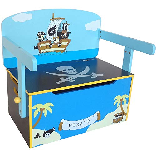 Bebe Style Toddler Sized Premium Wooden Convertible 3 in 1 Bench Desk and Table Pirate Theme Easy Assembly Blue ()