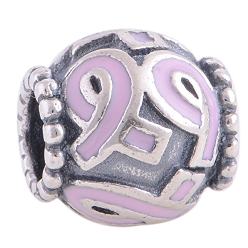 Breast Cancer Awareness Pink Ribbon Enamel 925 Sterling Silver Charm Bead for Pandora European Charm Bracelets