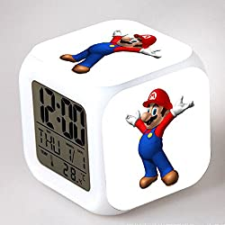 Enjoy Life : Cute Digital Multifunctional Alarm Clock With Glowing Led Lights and Super Mario sticker, Good Gift For Your Kids, Comes With Bonuses Part 1 (02)