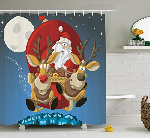 Decorations Collection, Santa on Sleigh with Rudolf Flying over City Humor Cartoon Universal Moon and Stars, Polyester Fabric Bathroom Shower Curtain, 84 Inches Extra Long, Multi ()