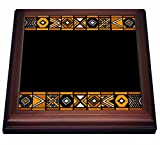 3dRose trv_76556_1 Brown and Black African Pattern-Art of Africa Inspired by Zulu Beadwork Geometric designs-Trivet with Ceramic Tile, 8'' x 8'', Brown