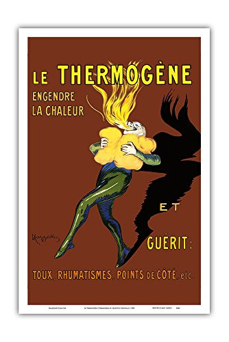 Le Thermogène (Thermogen) Poultice - Generates Heat and Cures: Cough, Rheumatism, Side Ache - Vintage Advertising Poster by Leonetto Cappiello c.1909 - Master Art Print - 12in x 18in (Best Cure For Cough)