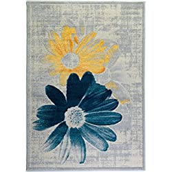 "Ladole Rugs Boston Collection Contemporary Floral Pattern Area Rug Carpet in Teal Yellow, 3x5 (2'7"" x 4'11"", 80cm x 150cm)"