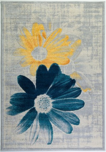 Ladole Rugs Boston Collection Contemporary Floral Pattern Area Rug Carpet in Teal Yellow, 8x11 (7'10