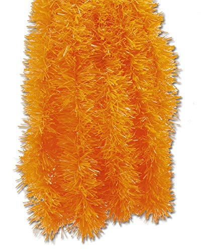 Orange Halloween Decor Holiday Decorations Autumn Tinsel Garland - 15-feet -