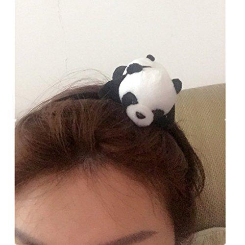 Lying Down Bear Doll 3D Panda Head Band Headdress Festival Party Decor Cute Funny Gift Plush toys (Head Band)