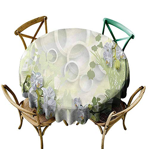 (CAONM Round Table Cover Plant, Beautiful, Artistic Style (10) D36,for Bistro Table)