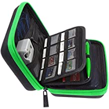 Brendo New Nintendo 3DS XL, 2DS XL and 3DS Carrying Case with 24 Game Cartridge Holders and Large Stylus - Green/Black
