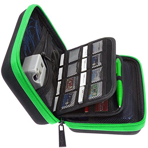 BRENDO 2DS XL Case, 3DS XL Carrying Case for New Nintendo 2DS XL and 3DS XL, 24 Game Cartridge Holders and a Large Stylus - BLACK/LIME GREEN