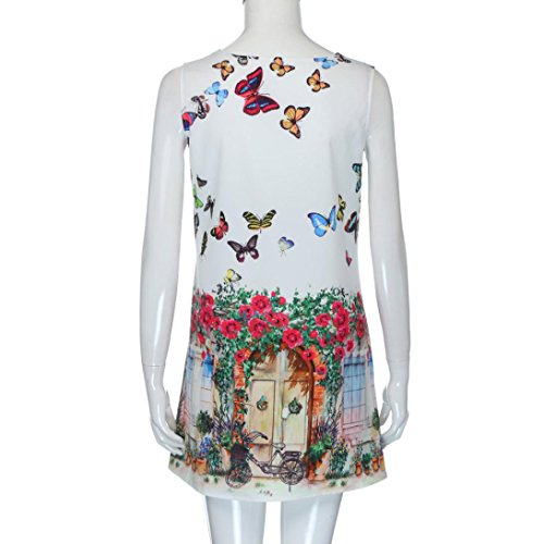 Lenfesh Vestido Verano Mangas Sin de Mini de Primavera Vestido blanco Casual Mujer Elegante Estampado Floral qw4rnqZ