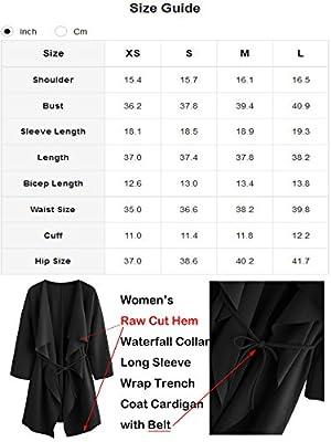 Romwe Women's Raw Cut Hem Waterfall Collar Long Sleeve Wrap Trench Coat Cardigan
