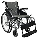 "Karman S-Ergo115F20SS Ultra Lightweight Ergonomic Wheelchair with 20"" Seat Width, Swing Away Footrest in Silver, Fixed Wheel & FREE Wheelchair Seatbelt!"