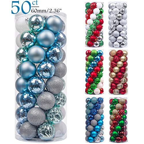 Valery Madelyn 50ct 60mm Winter Land Sliver Light Blue Shatterproof Christmas Ball Ornaments Decoration for Christmas Tree (Christmas Teal Baubles)