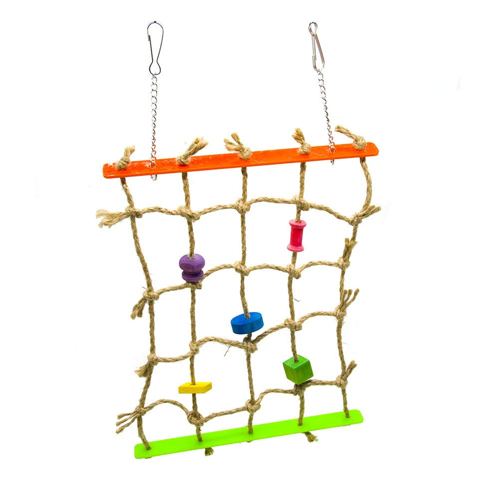 Pet Online Parred Toy Acrylic Twine color Climbing net with Hook Bird Toy, 24×40cm