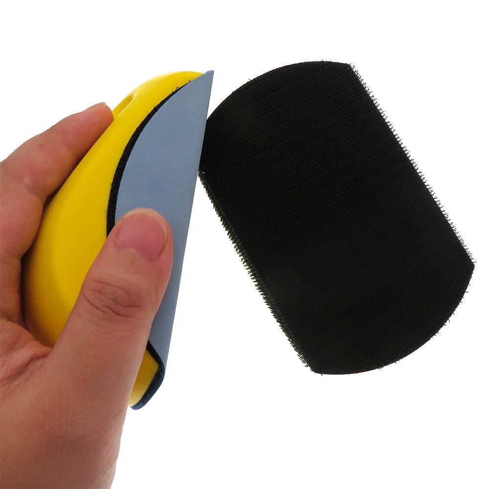 Disco de bloque de lijado con soporte de bucle de gancho para la restauraci/ón de muebles de carpinter/ía Cuerpo automotriz para el hogar 5 en forma de rat/ón