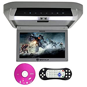 Rockville RVD10HD-GR Flip Down Monitor DVD Player, HDMI, USB, Games, LED, 10.1