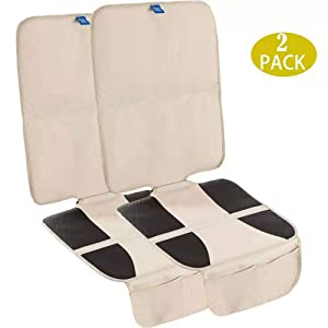 Funbliss Car Seat Protector for Baby Child Car Seats Auto Seat Cover Mat for Under Carseat with Thickest Padding to Protect Leather & Fabric Upholstery - Waterproof and Dirt Resistant (2 Pack) Beige