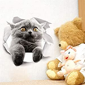 Wall stickers Cute cats post bathroom toilet wall stickers to remove refrigerator Windows from the bedroom living room