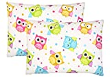 Toddler Pillowcase, 2 pack - Premium Cotton Flannel, Super SOFT and BREATHABLE, toddler pillowcase 13x18, Owls