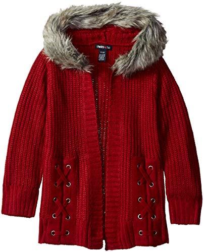 Faux Fur Trim Sweater Cardigan - Limited Too Girls' Little Faux Fur Trim Hooded Cardigan, Dark red, 4