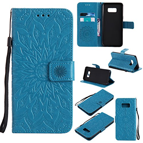 Price comparison product image NOMO Galaxy S8 Plus Case, S8 Plus Wallet Case, Samsung S8 Plus Flip Case PU Leather Emboss Mandala Sun Flower Folio Magnetic Kickstand Cover with Card Slots for Samsung Galaxy S8 Plus Blue