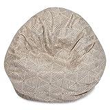 Majestic Home Goods 81001093230 Charlie-Beige Metallic Large Bean Bag