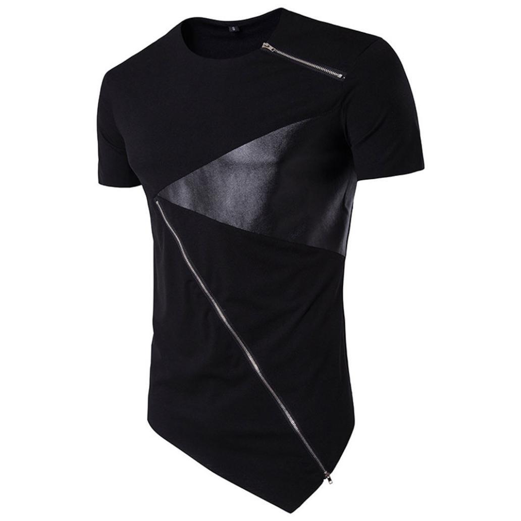 feiXIANG Moda Casuale T-Shirt da Uomo Slim Fit Camicetta Maglietta da Uomo Maniche Corta T Shirt Camicie da Uomini Tees Maniche Corte Polo Manica Corta Tops con Cotone