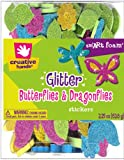 Fibre Craft Foam Glitter Stickers, 2.25-Ounce, Butterflies/Dragonflies