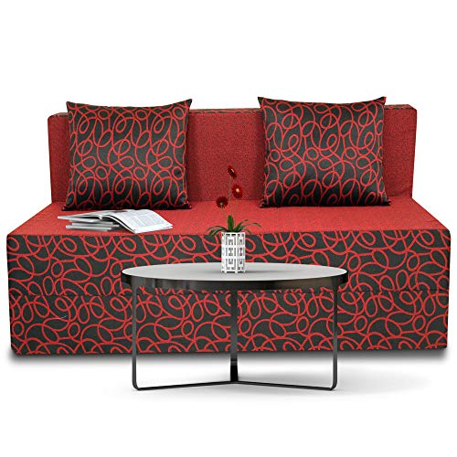 Adorn India Easy Two Seater Sofa Cum Bed Poly Cotton (Maroon and Black) (4 x 6)