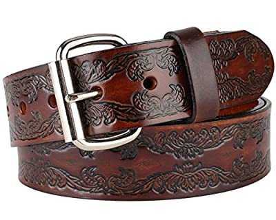 "Men's Top Grain Western Classic Leather Dress Belt For Jeans,snaps, Roller buckle,1.5"" wide,Made in USA"
