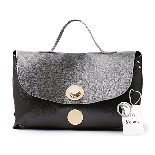 Yoome Genuine Leather della mucca per il sacchetto di tote della borsa delle donne sacchetti eleganti allingrosso per il sacchetto del sacchetto di trucco di fascino - il nero Grigio