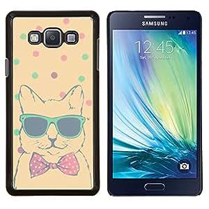 Trullo Lunares Cool Cat Bowtie Sombras- Metal de aluminio y de plástico duro Caja del teléfono - Negro - Samsung Galaxy A7 / SM-A700