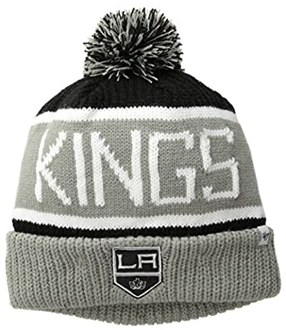 NHL Los Angeles Kings '47 Brand Calgary Cuff Knit Hat with Pom, Black, One Size (Los Angeles Kings Hat 47)